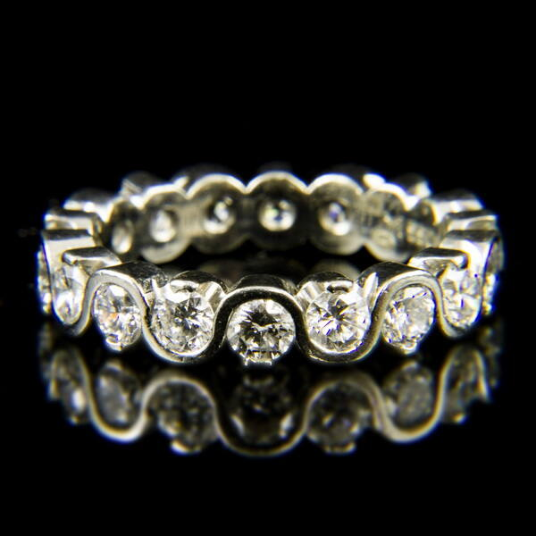 MEISTER platina Sport gyűrű briliáns csiszolású gyémánt kövekkel