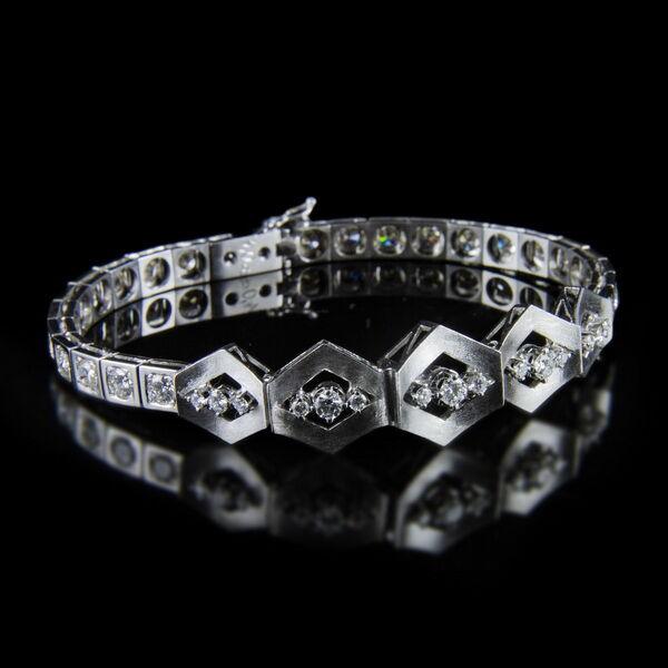 Art deco stílusú fehérarany gyémánt karkötő