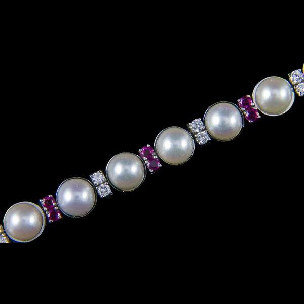 Rubin gyémánt karkötő gyöngyökkel