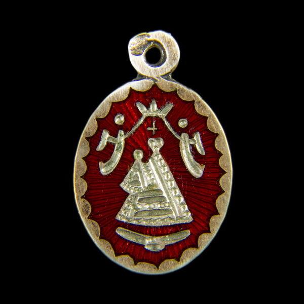 Máriazelli ezüst medál vörös zománc díszítéssel