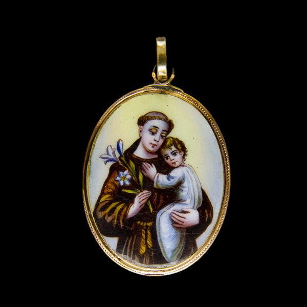 Páduai Szent Antal zománc medál arany keretben