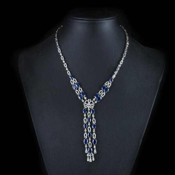 Zafír és gyémánt köves fehérarany nyaklánc