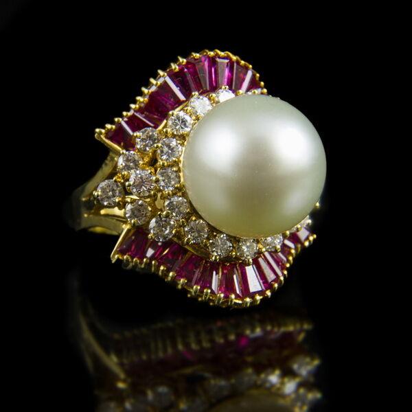 Rubin köves gyémánt gyűrű tahiti gyönggyel