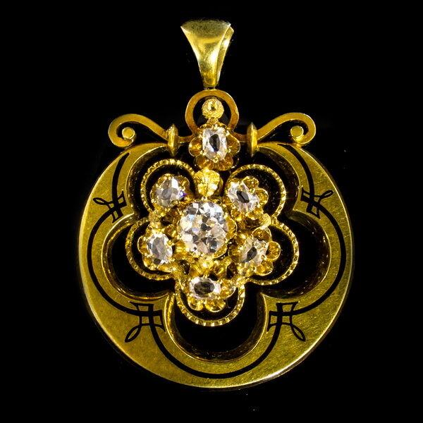 Biedermeier arany medál gyémánt kövekkel