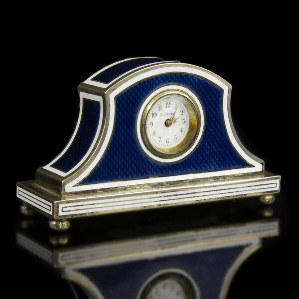8 napos ezüst asztali óra kék-fehér zománc díszítéssel