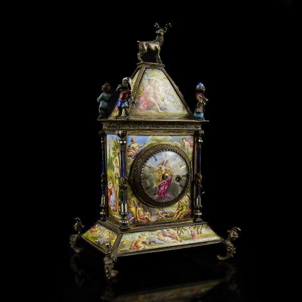 Ezüst asztali óra zománcfestett képekkel