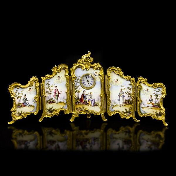 Paraván forma zománcképes asztali óra