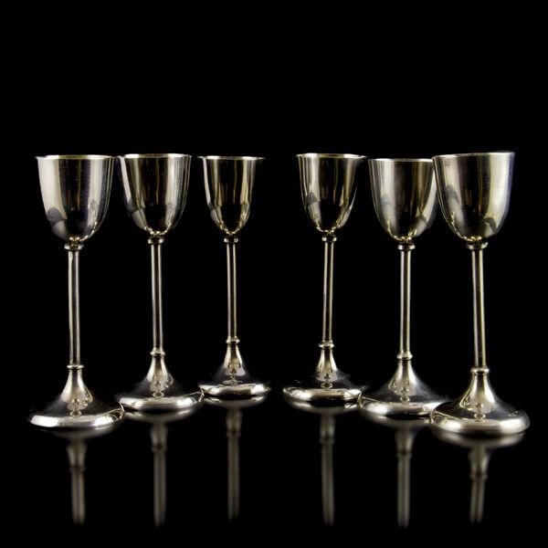 6 db pesti talpas ezüst likőrös pohár