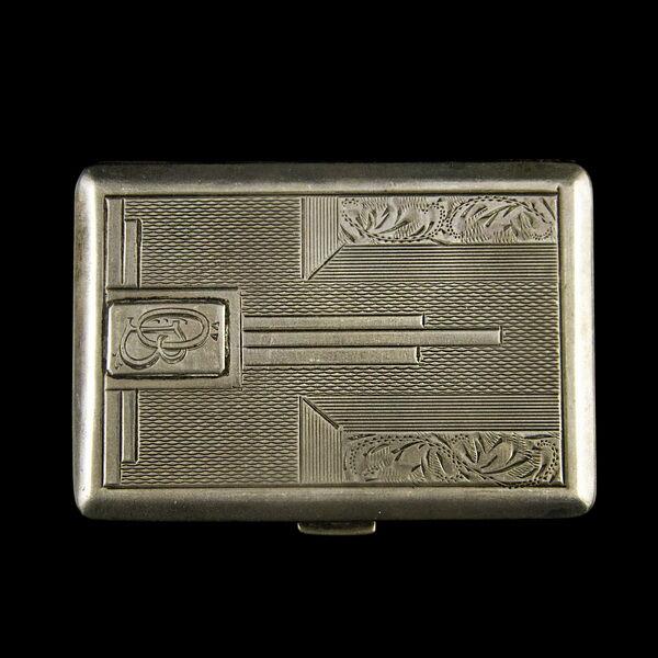 Pesti ezüst cigarettatárca gilosált és vonalas mintával