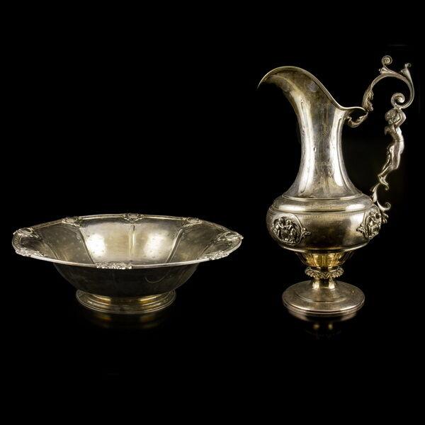 Francia antik ezüst mosdótál és vizeskancsó