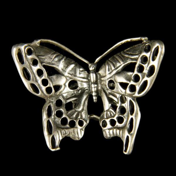 Mini ezüst áttört pillangó
