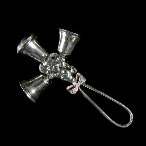 Mini ezüst hármas babacsörgő