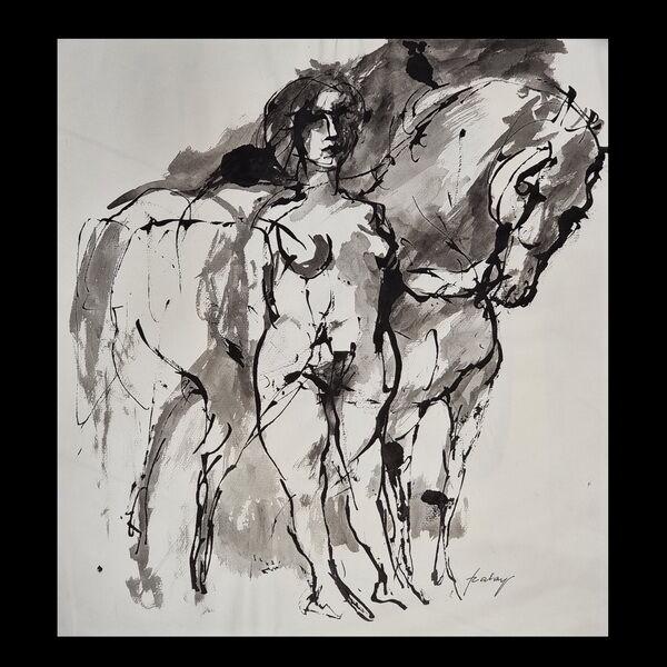 Szalay Lajos (1909-1995)Tusrajz - Nő és lova