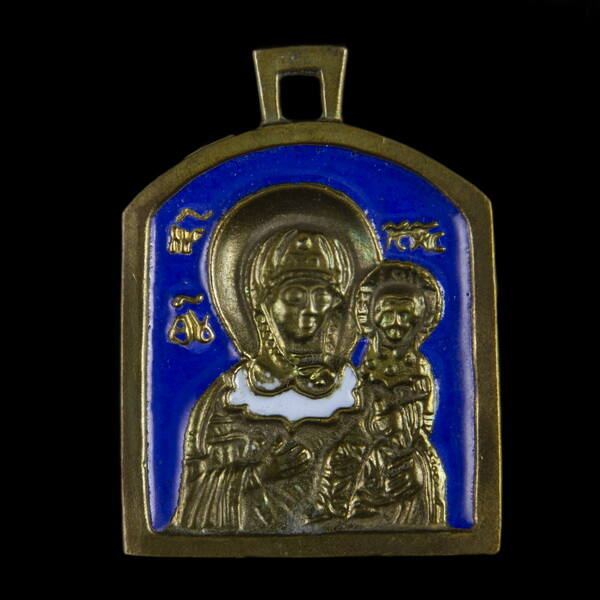 Úti ikon Mária medál kék zománcozással