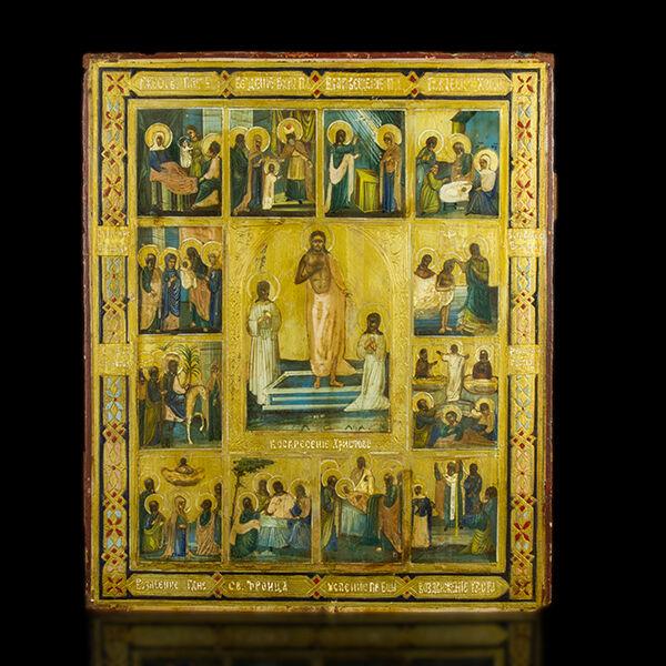 Ünnepi ikon Krisztus feltámadása és a 12 nagyobb ünnep képeivel