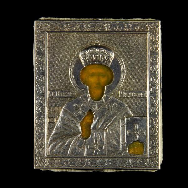 Szent Miklós ezüst borítású mini ikon