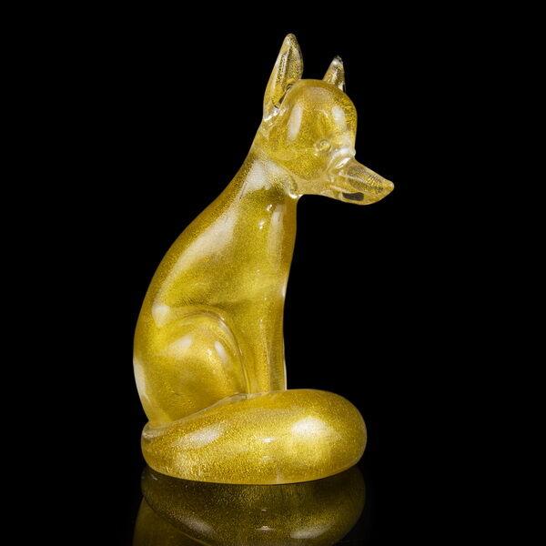 Muránói üveg róka figura