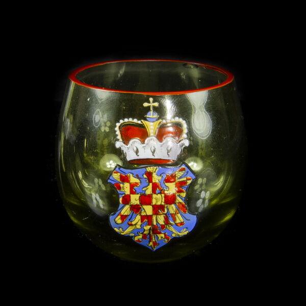 Zöld üvegpohár Morvaország címerével