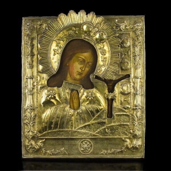 Achtirkai Istenanya ikon aranyozott ezüst okláddal