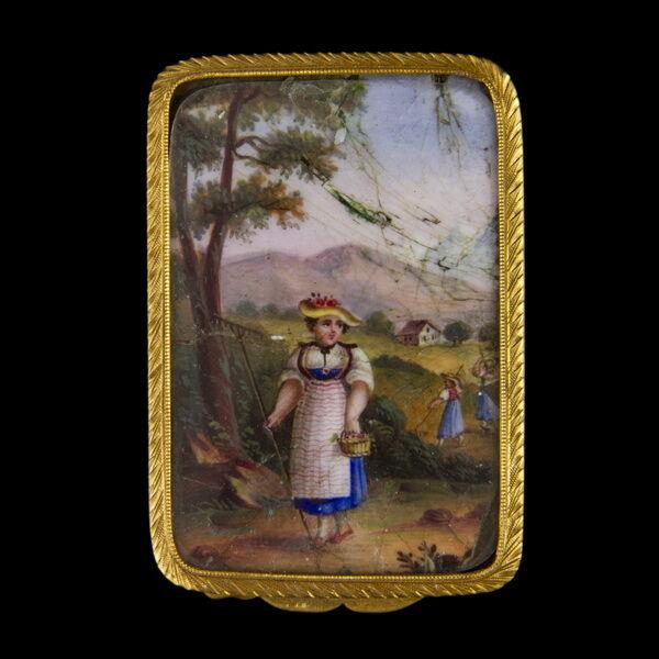 Arany szelence festett németalföldi életképpel