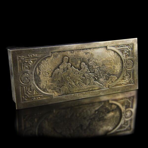 Francia ezüstözött réz bélyegtartó