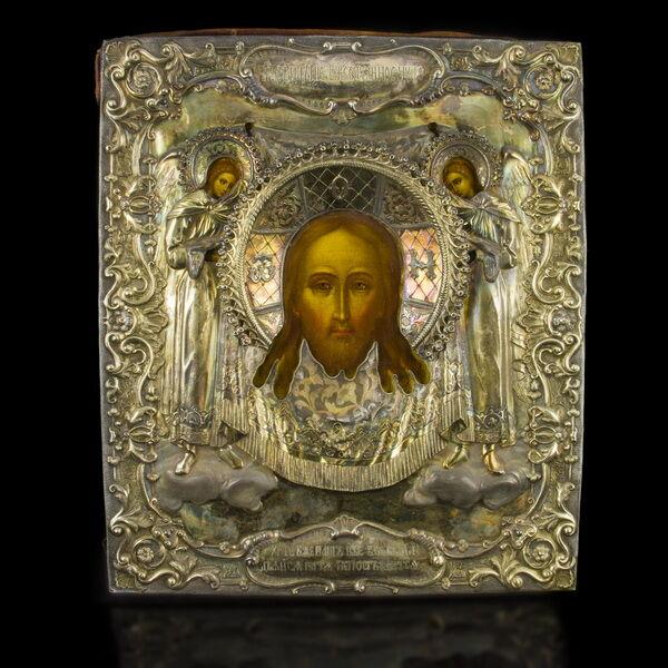 Mandylion ikon ezüst okláddal