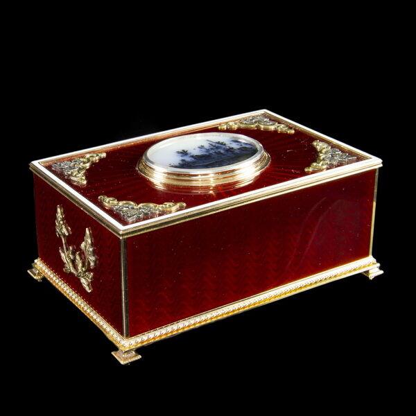 Orosz arany madárkás zenélő dobozka