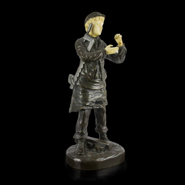 Paul Louis Rousseau bronz inas fiú kisplasztika