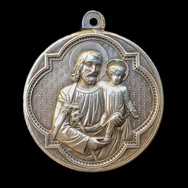 Francia ezüstözött Szent József medál