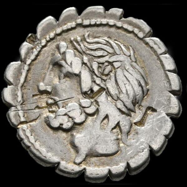 Lucius Cornelius Scipio Asiaticus ezüst denár (Kr.e.106)