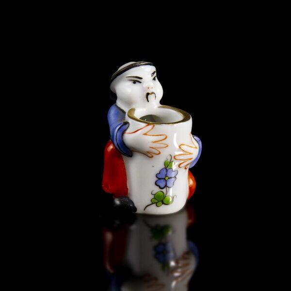 Ó Herendi porcelán kínai figurás fogvájótartó arany csíkkal