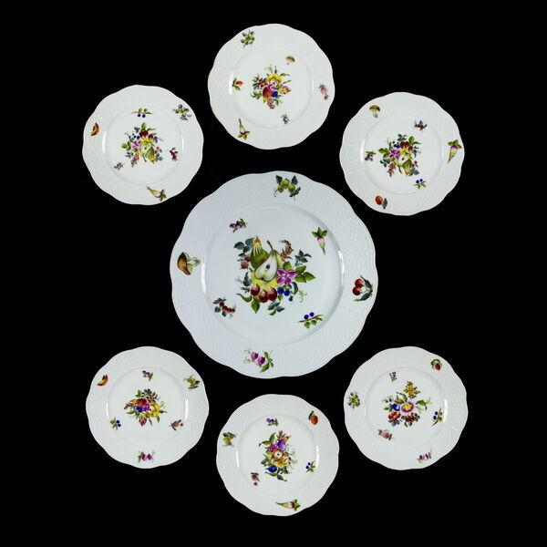 Herendi porcelán BFR mintás süteményes készlet