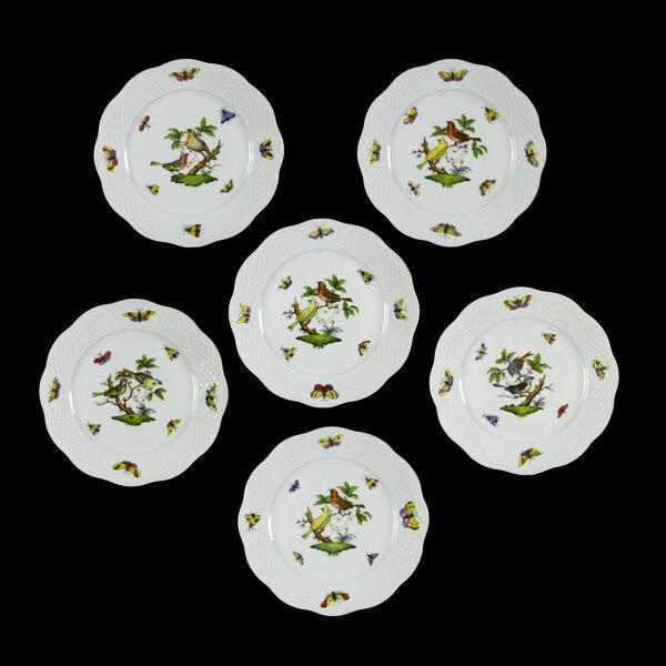 Herendi porcelán Rothschild mintás süteményes tányér készlet