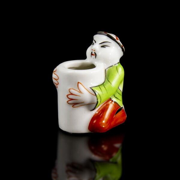 Herendi porcelán kínai figurás fogvájótartó arany csíkkal