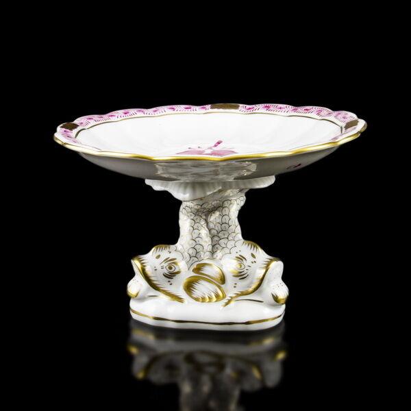 Herendi porcelán pink Apponyi mintás delfines kínálótál