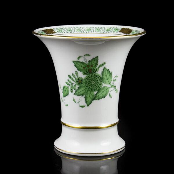 Herendi porcelán zöld Apponyi mintás kisváza