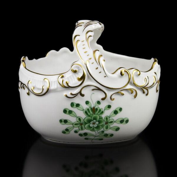 Herendi porcelán zöld Waldstein mintás füles kosárka