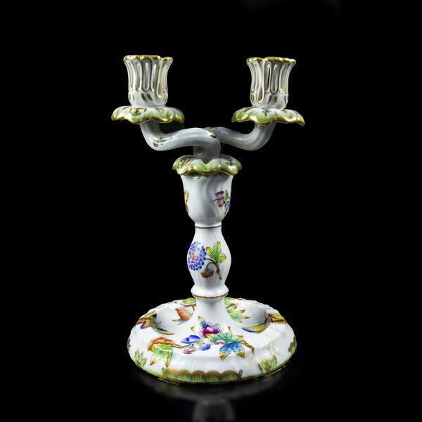 Herendi Viktória mintás  kétágú gyertyatartó asztali lámpa