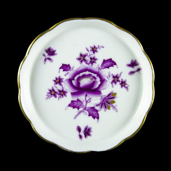 Herendi porcelán tálka lila Apponyi mintával