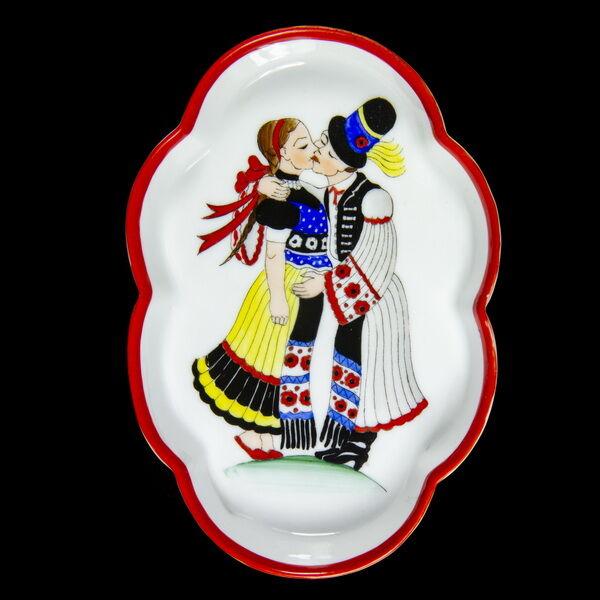 Herendi porcelán tálka szerelmes párral