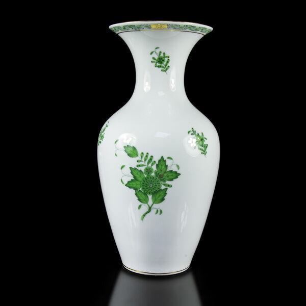 Herendi porcelán zöld Apponyi mintás váza