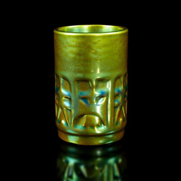 Zsolnay Eozén mázas henger váza pohár